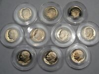 10-Year Run of Proof Roosevelt Dimes: 1980-s to 1989-s. All in Capsules.  #54