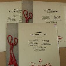 LP MOZART Die Zauberfloete, rec. in German, H. von Karajan, Set of 3 discs
