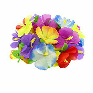 Faux Hawaiian Hibiscus Flowers Summer Tropical Tiki Picnic Party Decoration