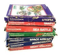 Intellivision Game Lot -Night Stalker, Sea Battle Snafu Utopia Astrosmash Poker