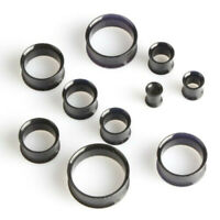 BLACK Acrylic Ear Tunnels Piercing Stretchers Jewellery Plugs Saddle Flared TU33
