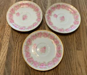 """3 Haviland Limoges China Saucers Plates Drop Rose 5.5"""" Pink Schleiger 55"""