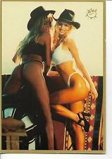 LARGE POSTCARD-2 HOT COWGIRLS SHOWING LOTS OF LEG & MORE