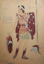 1953 Gouache drawing Roman soldier theatre/opera costume design signed