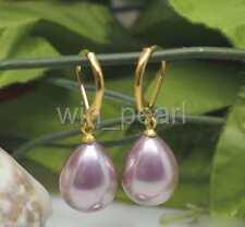 12x16mm Purple South Sea Shell Pearl Water-Drop 14K Gold GP Leverback Earrings