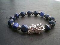 Lapis Lazuli Gemstone Bracelet, Paved Dragon Totem Natural Healing Mind Stone UK