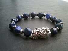 Lapis Lazuli Gemstone Bracelet, Paved Dragon Totem Natural Healing Mind Stone UK