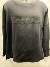 Solid Black REEBOK Spell Out Sweat Shirt Men's Size L