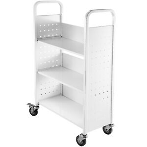 Book Cart Library Cart 200lb Capacity with L-Shaped Shelves in White