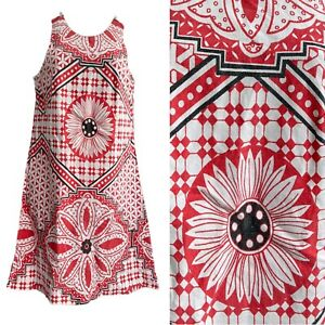 Vintage 60s Dress THERMO-JAC Rare UK6 8 S Red Black Tile Print Funky Mod Party