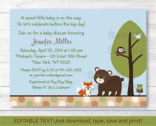 Bear Fox Owl Forest Friends Printable Baby Shower Invitation Editable PDF