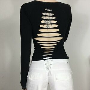Slashed Cutout Top S Backless Rave Punkyfish Distressed Long Sleeve y2k 00s
