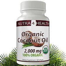 Coconut Oil Softgel Capsules; 100% Extra Virgin, Organic, Cold Pressed Oil...