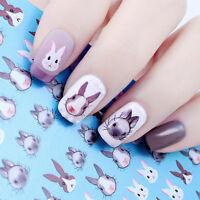 Water Decals Nail Art Transfer Stickers Rabbit Kawaii Bunny Tips Decoration DIY