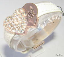 GUESS ??? Jeans Rhinestones Bangle Bracelet white Tone Charms Faux leather NWT