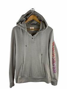 Quicksilver Fleece Hoodie Jumper Mens Size L Grey Long Sleeve Drawstring Logo