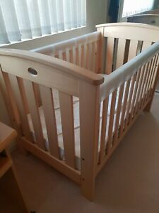 Like new Boori casa cot bed (dropside) with additional accessories