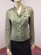 AKRIS PUNTO Green Brown Beige Linen Blend Striped Button Jacket Blazer 4 EUC