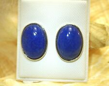 11MM SOLID 925 STERLING SILVER 6.58CTS OVAL CABOCHON LAPIS LAZULI STUD EARRINGS