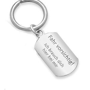 Personalisierte Schlüsselanhänger ECHTSILBER Fahr vorsichtig Gravur Namen Datum
