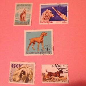 DOGS on Stamp Lot (5) w/w used and MINT H - KELPIE - DOG in Space Lot NO A 20 22