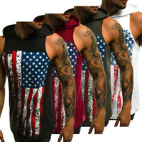 Mens Muscle Flag Print Hoodie Tank Top Bodybuilding Gym Sleeveless T-Shirt Vest