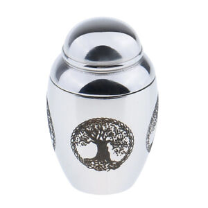 Tree of Life Silver Stainless Steel Cremation Pet Funeral Memorial Urn Jar