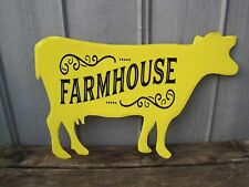 "Large 32"" Farmhouse Cow Metal Wall Sign Primitive Country Farm Sign B9269"