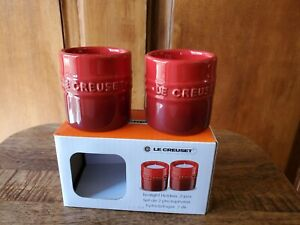 Le Creuset CERISE (red) Tealight Holders, set of 2, new in box