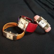 Lot of 3 Cuff Watches - Pink, Red, & Tan