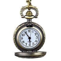 3X(Retro Steampunk Bronze montre de poche a quartz pendentif chaine horloge 9U3)