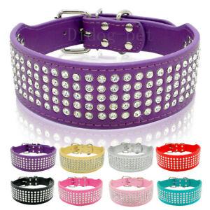Bling Rhinestone Pet Dog Collars Soft PU Leather Necklaces for Medium Large Dogs