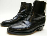 MENS LAREDO BLACK LEATHER ANKLE ZIP COWBOY WESTERN BOOTS SHOES SZ 8.5~1/2 EW