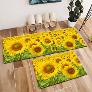Summer Beautiful Sunflowers Field Area Rugs Kitchen Living Room Floor Mat Carpet