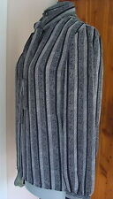 Vintage Personal 12 Black Gray Ls Bow Blouse Geo Vertical Stripes Keyhole Poly