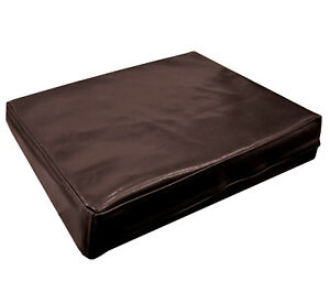 pe203t Coco Brown Faux Leather Classic Pattern 3D Box Cushion Cover Custom Size
