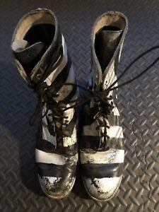 Unique Black & White Striped State Prison Leather Boots 9.5 D