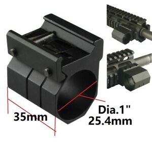 """1"""" Tube Clamp on Weaver Picatinny Rail Mount for Flashlight Laser Accessories"""