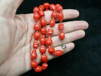 """Vintage-Red Bead w/White Cord Irregular Shaped Necklace 18"""""""