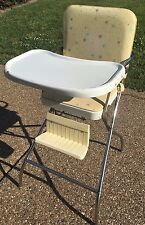 Vintage 1960s Atomic Starburst Yellow Aqua Comfort Lines Baby High Chair Folding