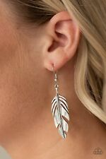 Paparazzi Lookin Fly Feather Silver Earring Set