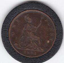 1891    Queen  Victoria  Large  Penny  Bronze  Coin