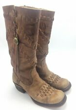 Vintage Tall Woven Leather Boots 7.5 Womens Boho Festival Hippie Sears Movie