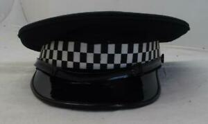 Grade B Black Flat Peaked Cap With Checkered Tape Fancy Dress Theatre And TV