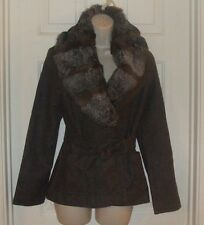 New G-How Size Medium/ Brown Wool w/ Rabbit Fur Collar Lined Women's Jacket