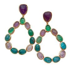 Natural Teardrop Amethyst Apatite Agate Dangle Stud Earrings