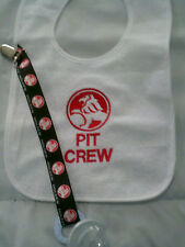 ford or holden  personalized with yr childs name pit crew dummy clip bib sets