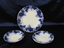 JOHNSON BROS FLOW BLUE PEACH DINNER PLATE & SAUCERS (2) **