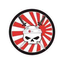 Sticker plastifié SKULL KATANA White Japan - Suz Kawa Honda Yamaha - 6cm x 6cm