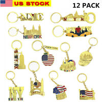12 Pack Gold New York City Metal Keychains NYC  KeyRing Souvenir Collection